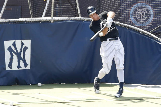 New York Yankees Aaron Judge bats in the cage at Yankees summer baseball training camp, Wednesday, July 15, 2020, at Yankee Stadium in New York. Judge was scratched fom a simulated game earlier in the week but was back on the field Wednesday. (AP Photo/Kathy Willens)