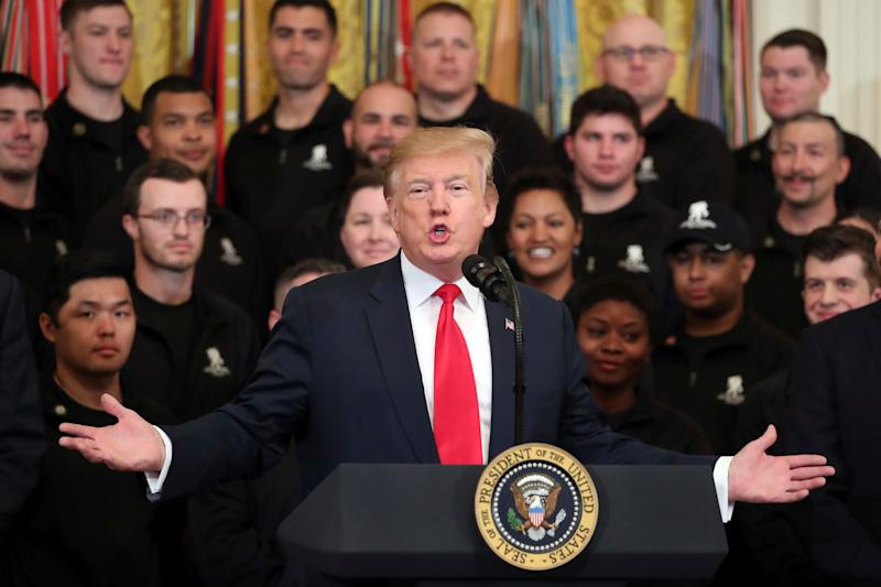 President Donald Trump speaks at a Wounded Warrior Project Soldier Ride event in the East Room of the White House, Thursday, April 18, 2019, in Washington. (Photo: Andrew Harnik/AP)