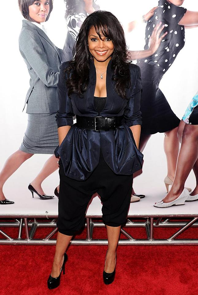"""If we were just judging the top of the ensemble Janet Jackson wore to the New York premiere of """"Why Did I Get Married Too,"""" she would have ended up in 2 Hot 2 Handle, but unfortunately the """"Nasty"""" singer decided to pair her belted Alexander McQueen jacket with saggy harem pants. Not exactly the most figure-flattering look for Miss Jackson! Stephen Lovekin/<a href=""""http://www.gettyimages.com/"""" target=""""new"""">GettyImages.com</a> - March 22, 2010"""