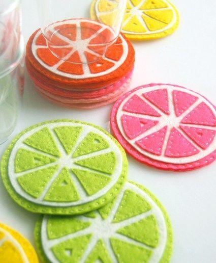 """<p>Get fruity vibes by sewing some fruit inspired coasters. <i><a href=""""https://uk.pinterest.com/pin/90423904997291223/"""">[Photo: Pinterest]</a></i></p>"""