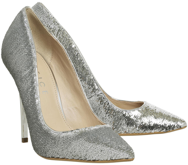 Office glittery silver shoes