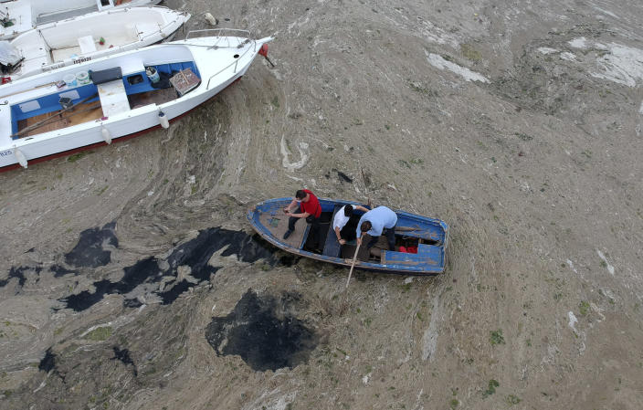 """An aerial photo of Pendik port in Asian side of Istanbul, Friday, June 4, 2021, with people and a huge mass of marine mucilage, a thick, slimy substance made up of compounds released by marine organisms, in Turkey's Marmara Sea. Turkey's President Recep Tayyip Erdogan promised Saturday to rescue the Marmara Sea from an outbreak of """"sea snot"""" that is alarming marine biologists and environmentalists. Erdogan said untreated waste dumped into the Marmara Sea and climate change had caused the sea snot bloom. Istanbul, Turkey's largest city with some 16 million residents, factories and industrial hubs, borders the sea.(AP Photo)"""