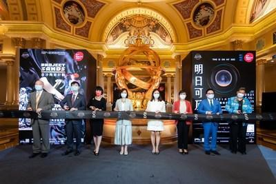 Guests of honour officiate a ribbon cutting at The Venetian Macao Thursday during the opening ceremony for Project Sands X: Beyond the Blue – An Exhibition of Ceramic Extraordinaire.