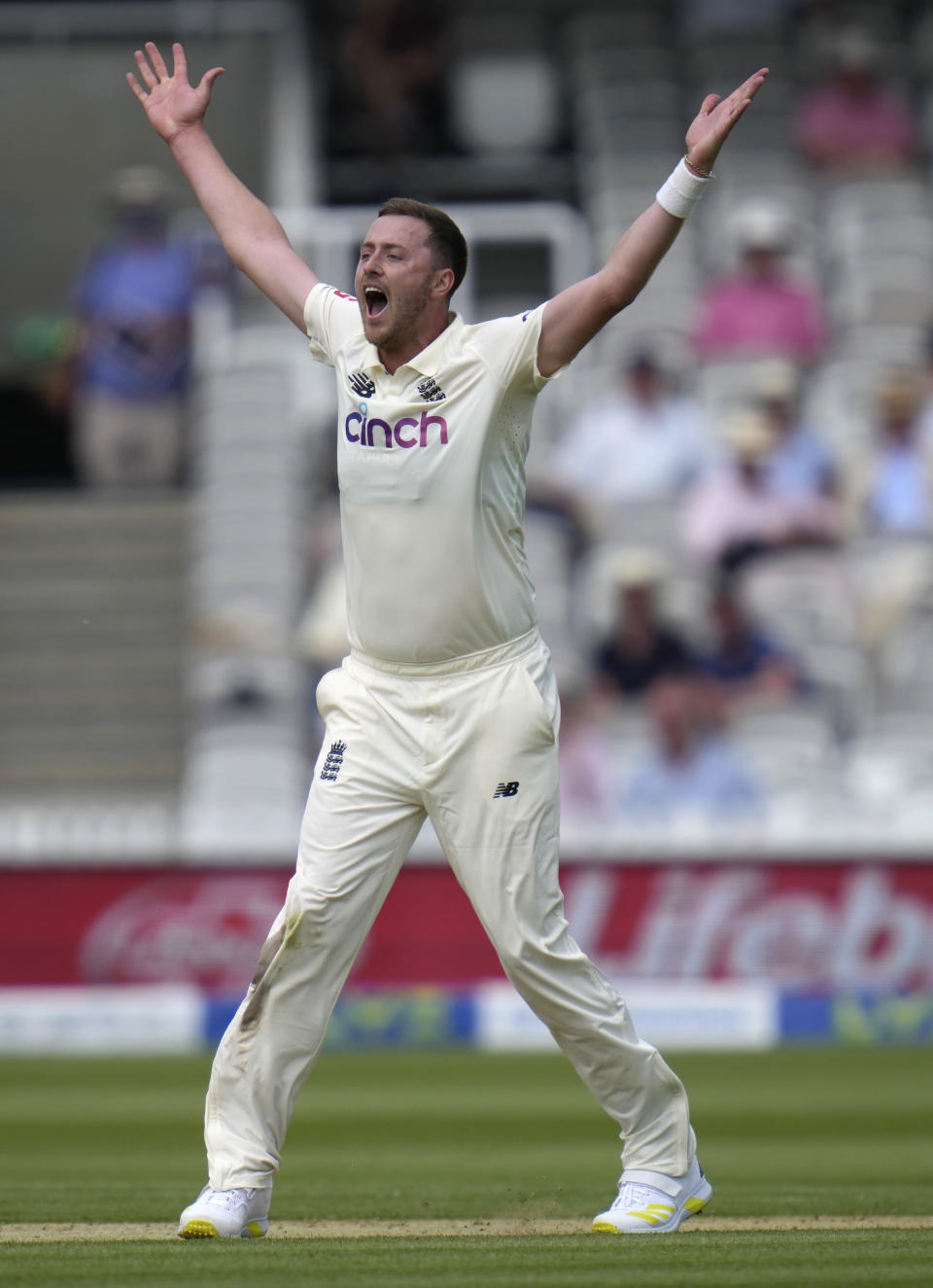 England's Ollie Robinson appeals after bowling during the first day of the Test match between England and New Zealand at Lord's cricket ground in London, Wednesday, June 2, 2021. (AP Photo/Kirsty Wigglesworth)
