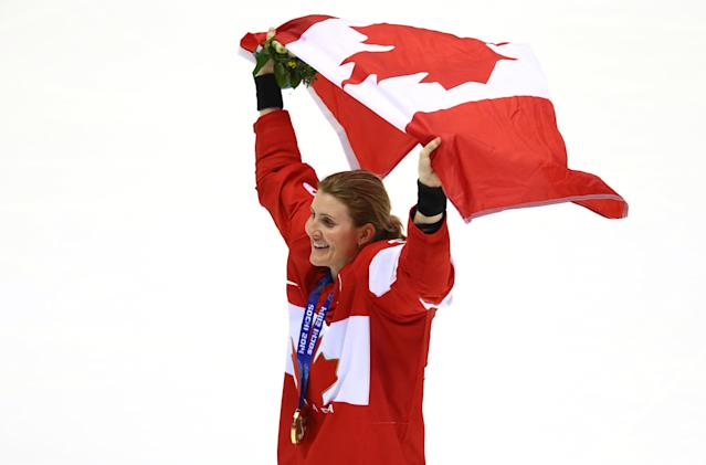 Hayley Wickenheiser was the first woman skater ever to play professional men's hockey. (Getty Images)