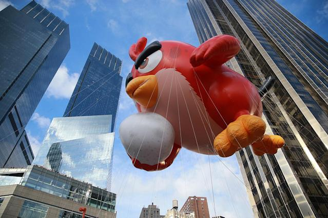 Angry Bird Red heads into Columbus Circle in the 89th Macy's Thanksgiving Day Parade in New York, Nov. 26, 2015. (Photo: Gordon Donovan/Yahoo News)