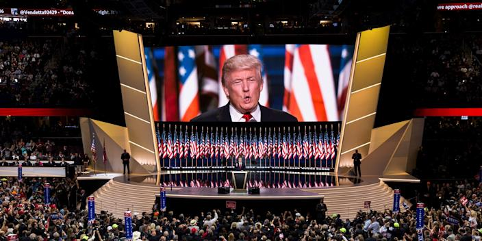 Donald Trump accepts the Republican nomination for President on the last night of the 2016 Republican National Convention in Cleveland, Ohio, USA on July 21, 2016