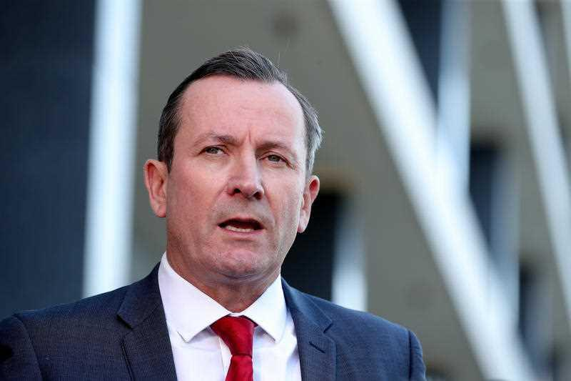 Western Australia Premier Mark McGowan speaks to the media during a press conference in Perth.