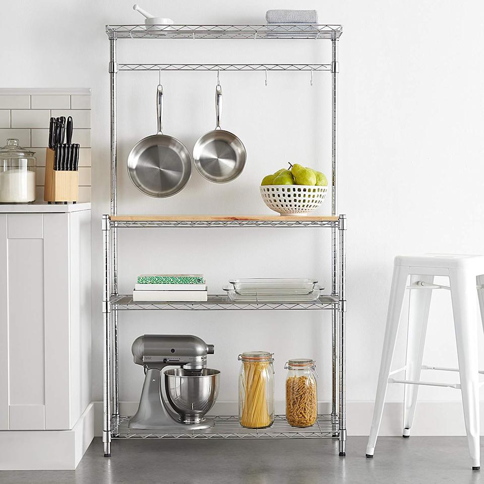 """<h3><a href=""""https://www.amazon.com/AmazonBasics-Bakers-Rack-Wood-Chrome/dp/B073P1V6HR/ref=sr_1_20"""" rel=""""nofollow noopener"""" target=""""_blank"""" data-ylk=""""slk:AmazonBasics Kitchen Storage Baker's Rack"""" class=""""link rapid-noclick-resp"""">AmazonBasics Kitchen Storage Baker's Rack</a></h3><br>Cramped apartments with limited counter space (or no counters at all) can utilize this streamlined cart and baker's rack as a space-conscious storage solution for under $100.<br><br><strong>Amazon Basics</strong> Kitchen Storage Baker's Rack, $, available at <a href=""""https://www.amazon.com/AmazonBasics-Bakers-Rack-Wood-Chrome/dp/B073P1V6HR/ref=sr_1_20"""" rel=""""nofollow noopener"""" target=""""_blank"""" data-ylk=""""slk:Amazon"""" class=""""link rapid-noclick-resp"""">Amazon</a>"""
