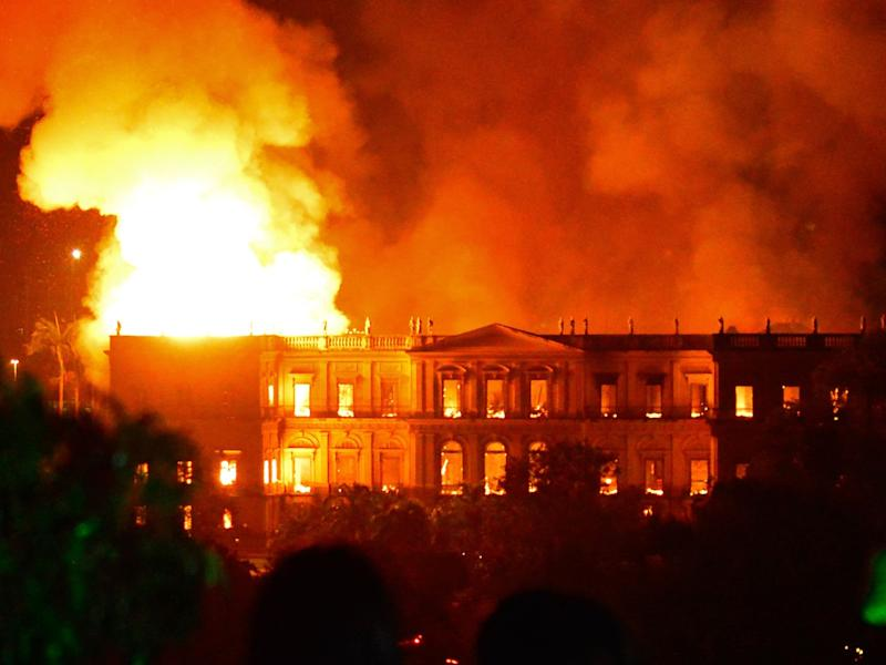 A massive fire engulfs the National Museum in Rio de Janeiro: AFP/Getty Images