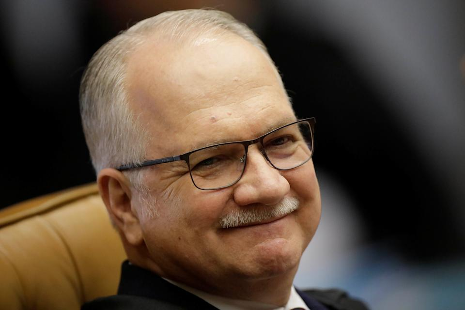 Judge Edson Fachin smiles during a session of the Supreme Court to examine appeal seeking to prevent arrest of former president Lula, in Brasilia, Brazil March 22, 2018. REUTERS/Ueslei Marcelino