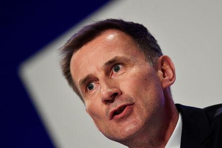 Britain's Foreign Secretary Jeremy Hunt addresses the Conservative Party Conference in Birmingham