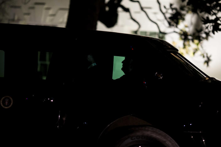 <p>Trump leaves the White House and heads to Capitol Hill to deliver the 2018 State of the Union address on Jan. 30 in Washington, D.C. (Photo: Zach Gibson/Getty Images) </p>
