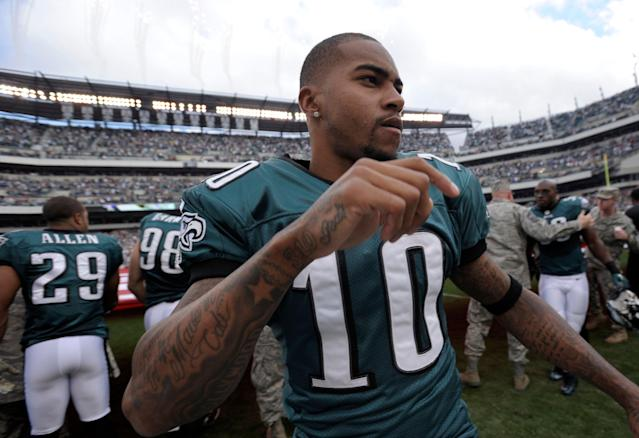 Philadelphia Eagles receiver DeSean Jackson will continue wearing No. 10 during his second stint with the team. (AP)