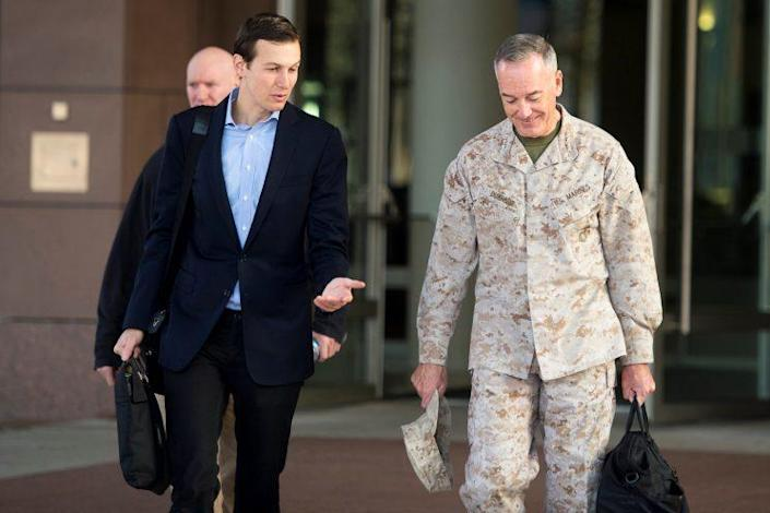 Jared Kushner, left, speaks with Marine Corps Gen. Joseph F. Dunford Jr., chairman of the Joint Chiefs of Staff, before departing for Iraq from Ramstein Air Base, Germany, April 3, 2017. (Photo: DoD/Handout via Reuters)