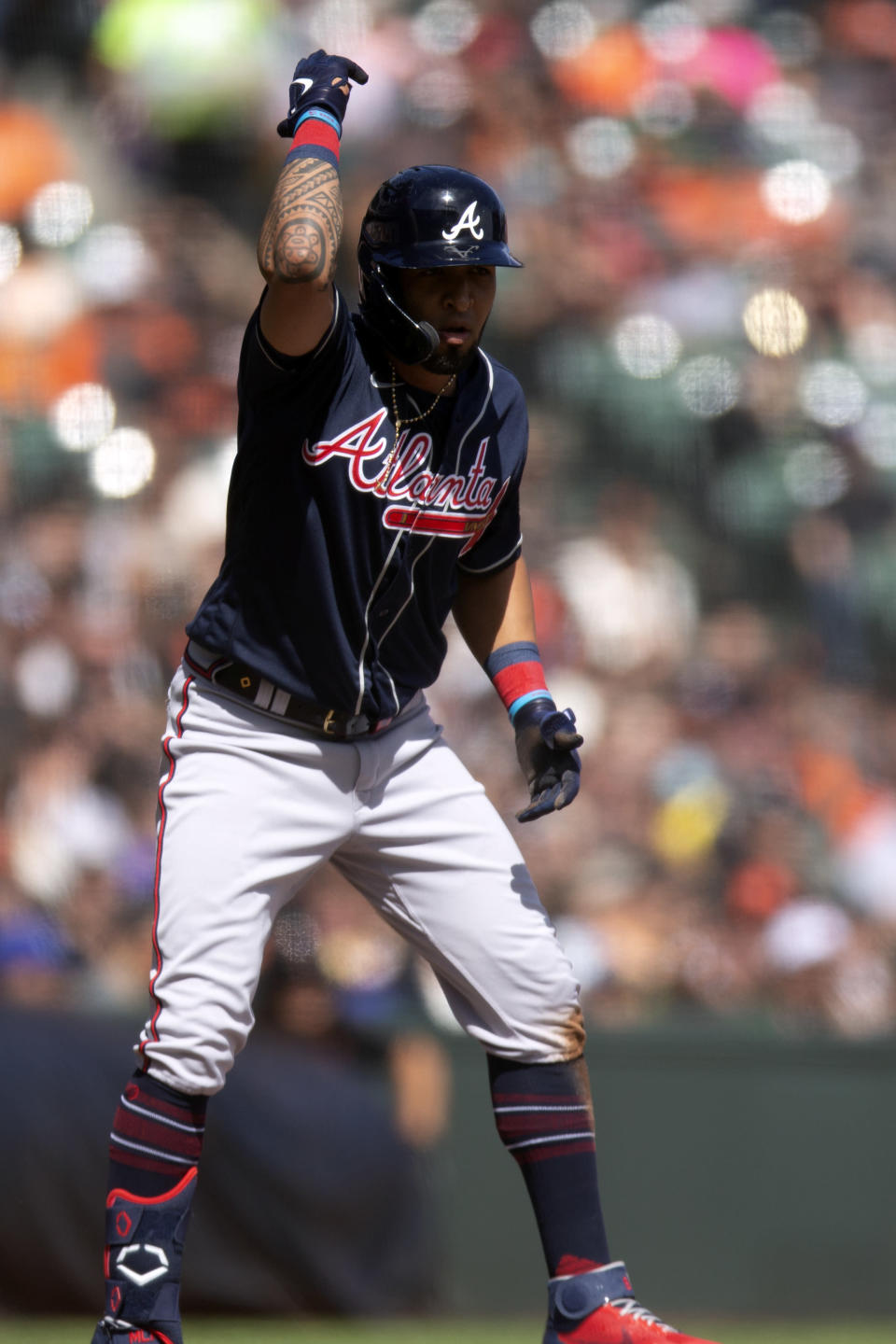 Atlanta Braves' Eddie Rosario gestures after hitting a triple against the San Francisco Giants during the fifth inning of a baseball game, Sunday, Sept. 19, 2021, in San Francisco. (AP Photo/D. Ross Cameron)