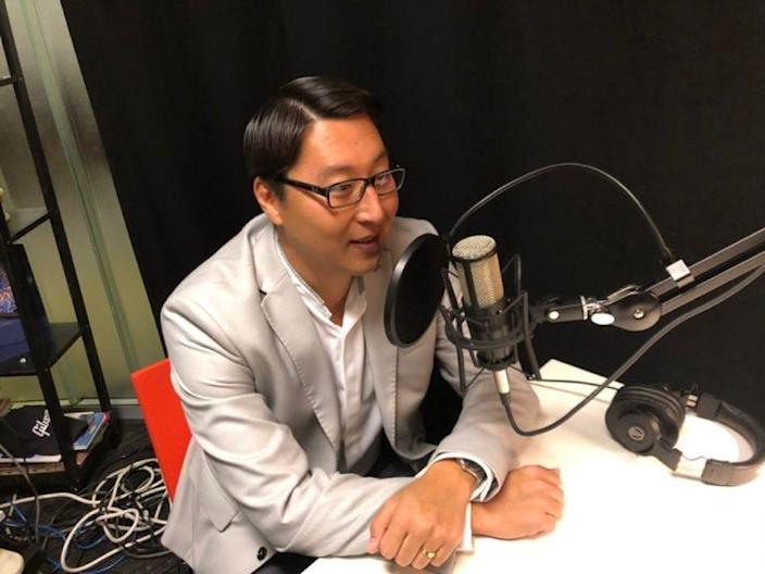 Kurt Bardella doing a podcast interview in 2019 in Washington, D.C.
