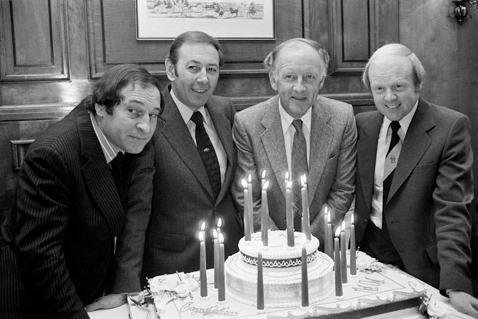 Past and present presenters of BBC TV's Grandstand celebrate 21 years of the Saturday afternoon sports programme at the International Sports Writers' Club in London: (l-r) Cliff Morgan, David Coleman, Frank Bough, Tony Gubba (Photo by PA Images via Getty Images)