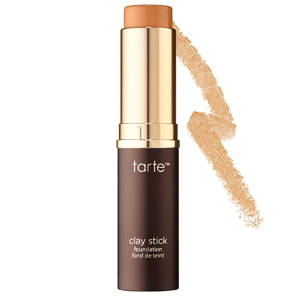 """<p><a href=""""http://www.refinery29.com/best-foundation-sticks"""" rel=""""nofollow noopener"""" target=""""_blank"""" data-ylk=""""slk:Stick foundations"""" class=""""link rapid-noclick-resp"""">Stick foundations</a> are made for lazy makeup routines. And similar to the cream and powder versions of this formula, the base sticks around forever.</p><p><strong>Tarte</strong> Clay Stick Foundation, $39, available at <a href=""""http://www.sephora.com/clay-stick-foundation-P419646?skuId=1952779&icid2=just%20arrived%3Ap419646"""" rel=""""nofollow noopener"""" target=""""_blank"""" data-ylk=""""slk:Sephora"""" class=""""link rapid-noclick-resp"""">Sephora</a>.</p>"""