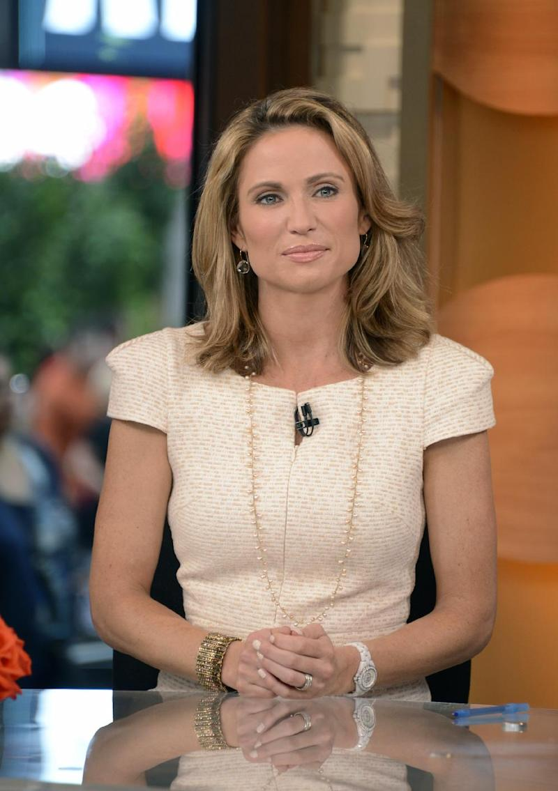 "This July 2, 2013 photo released by ABC shows co-host Amy Robach the set of ""Good Morning America,"" in New York. A month after undergoing a mammogram on ""Good Morning America,"" ABC's Amy Robach said Monday, Nov. 11, she has breast cancer and will have a double mastectomy and reconstructive surgery this week. (AP Photo/ABC, Ida Mae Astute)"