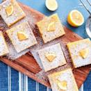 """<p>These bars are the perfect make ahead dessert. They need a long chill time, so pop 'em in the fridge and leave them overnight. The next day, you'll be rewarded with perfectly set squares. (Plus, if you're like me, you prefer lemon bars cold.) </p><p>Get the <a href=""""https://www.delish.com/uk/cooking/recipes/a32751794/easy-lemon-bars-recipe/"""" rel=""""nofollow noopener"""" target=""""_blank"""" data-ylk=""""slk:Lemon Bars"""" class=""""link rapid-noclick-resp"""">Lemon Bars</a> recipe.</p>"""