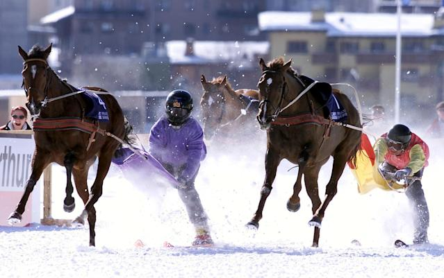 <p>Skijoring is a racing event in which skiers are towed across the ice and snow while hanging on to the reins of a horse. It appeared as a demonstration sport at the 1928 Winter Games in St. Moritz, Switzerland. (AP) </p>