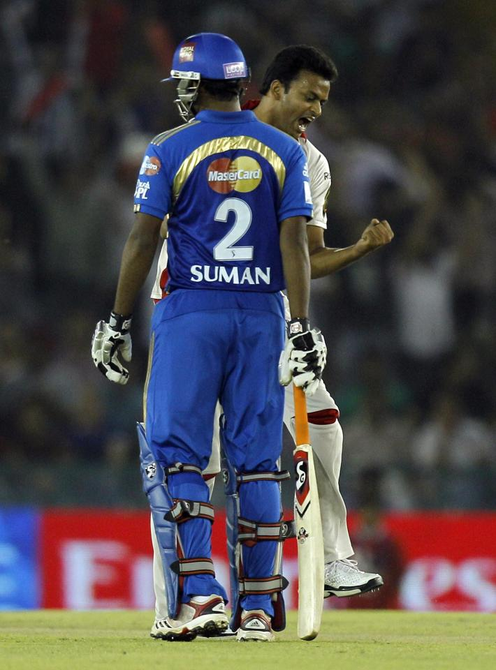 Shalabh Srivastava of Kings XI Punjab reacts after claiming a wicket during an Indian Premier League cricket match between Kings XI Punjab and Mumbai Indians in Chandigarh, India, Tuesday, May 10, 2011. The fourth edition of the world's richest cricket tournament scheduled between April 8-May 28 comprises of 10 teams and 74 matches.