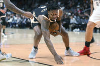Atlanta Hawks guard Treveon Graham (2) reacts after being fouled in the first half of an NBA basketball game against the Los Angeles Clippers, Wednesday, Jan. 22, 2020, in Atlanta. (AP Photo/Brett Davis)