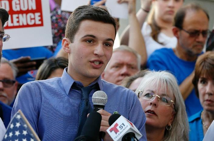 In this file photo taken on February 17, 2018, Marjory Stoneman Douglas High School student Cameron Kasky speaks at a rally for gun control in Fort Lauderdale, Florida (AFP Photo/RHONA WISE)