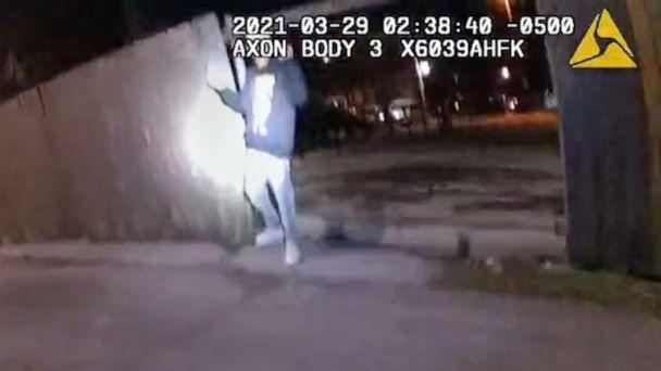 PHOTO: A still image from police body cam footage moments before Adam Toledo, 13, was shot and killed by police during a confrontation after a foot-chase in the early morning hours of March 29, 2021, in Chicago.  (Chicago Police Dept. )