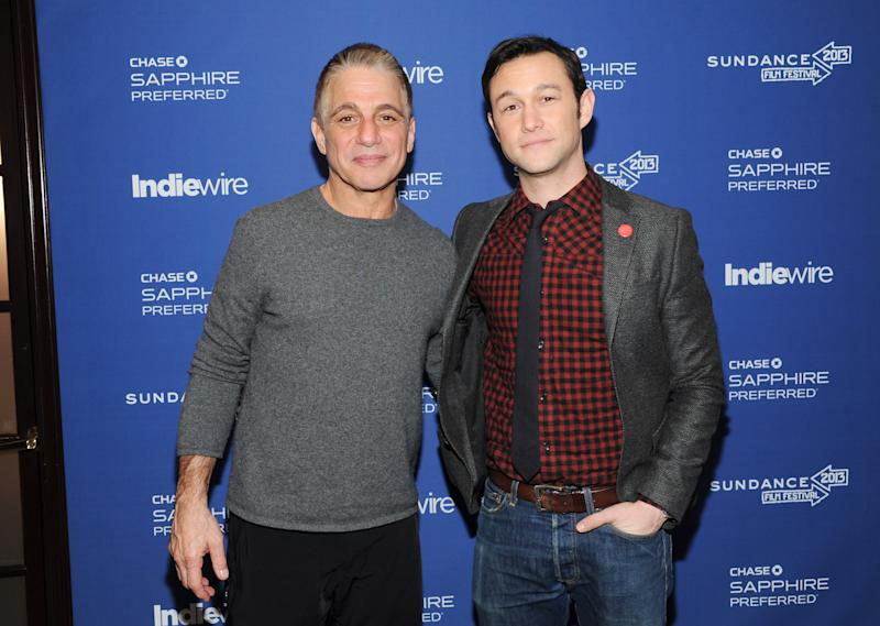"""Actor Tony Danza, left, and director, writer and actor Joseph Gordon-Levitt from the film """"Don Jon's Addiction"""" visit the IndieWire Studio at Chase Sapphire on Main during the Sundance Film Festival on Saturday, Jan. 19, 2013 in Park City, Utah. (Photo: Evan Agostini/Invision for Chase Sapphire/AP Images)"""