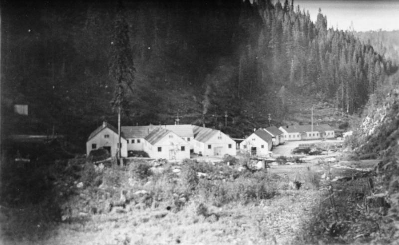 This image provided by the University of Idaho shows the Kooskia Internment Camp during World War II. This little-known internment camp where more than 250 people of Japanese ancestry were held during World War II is being explored for the first time by archaeologists. The Kooskia Internment Camp was located in the Rocky Mountains of north central Idaho, far from population centers. Between 1943 and 1945, some 265 male internees lived at the camp, and helped build scenic U.S. Highway 12 through the rugged mountains. (AP Photo/University of Idaho)