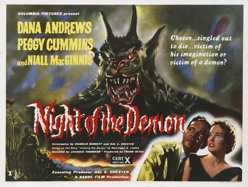 A poster for Jacques Tourneur's 1957 horror 'Night of the Demon' (aka 'Curse of the Demon) starring Dana Andrews and Peggy Cummins. (Photo by Movie Poster Image Art/Getty Images)