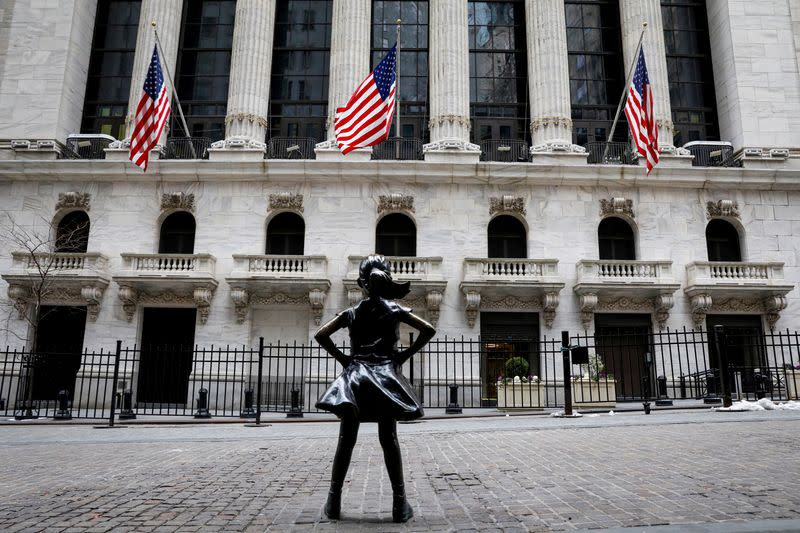 FILE PHOTO: The Fearless Girl statue is seen outside the NYSE is seen in New York