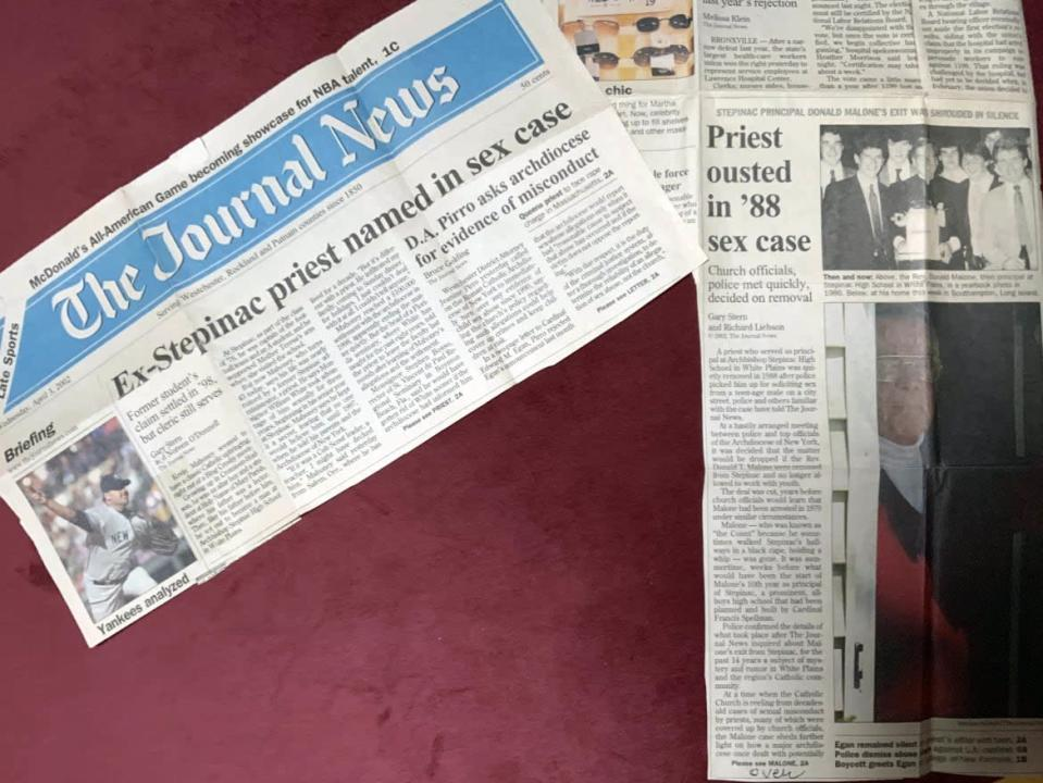 """<div class=""""inline-image__caption""""><p>Journal News articles that tipped off the author to her late husband's abuse by a priest.</p></div> <div class=""""inline-image__credit"""">Courtesy Jenny Grosvenor</div>"""