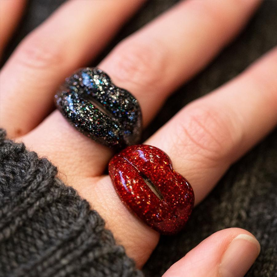 <p>Have a little fun with this gorgeous <span>Hotlips By Solange Glitter Red Ring</span> ($253).</p>