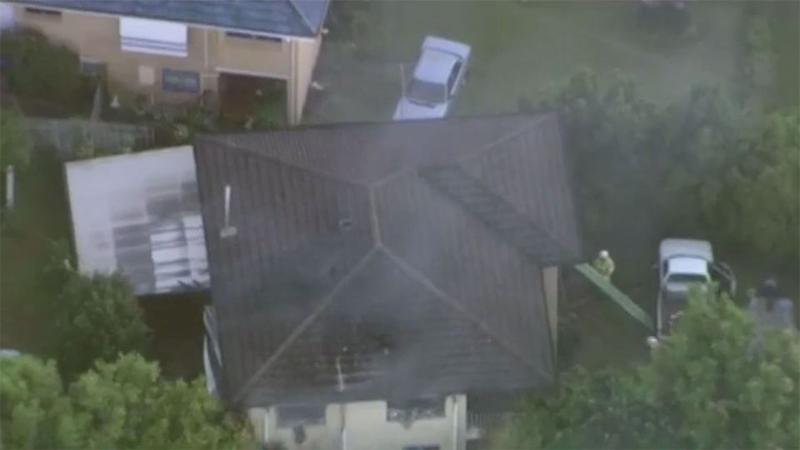 Aerial photos show the ferocious blaze burning inside the house. Source: 7 News