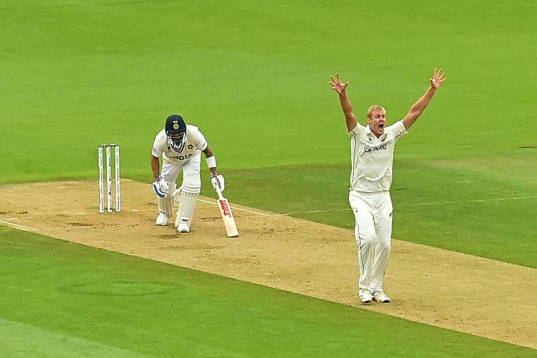 Prize wicket - New Zealand's Kyle Jamieson appeals succesfully as he has India captain Virat Kohli lbw for 44 in the World Test Championship final at Southampton on Sunday after trapping India's Virat Kohli LBW (leg before wicket) on the third day of the ICC World Test Championship Final between New Zealand and India at the Ageas Bowl in Southampton, southwest England on June 20, 2021.