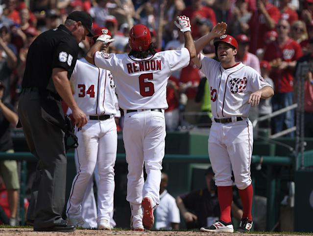 Anthony Rendon had never hit multiple home runs in a game before launching three on Sunday. (AP Photo/Nick Wass)