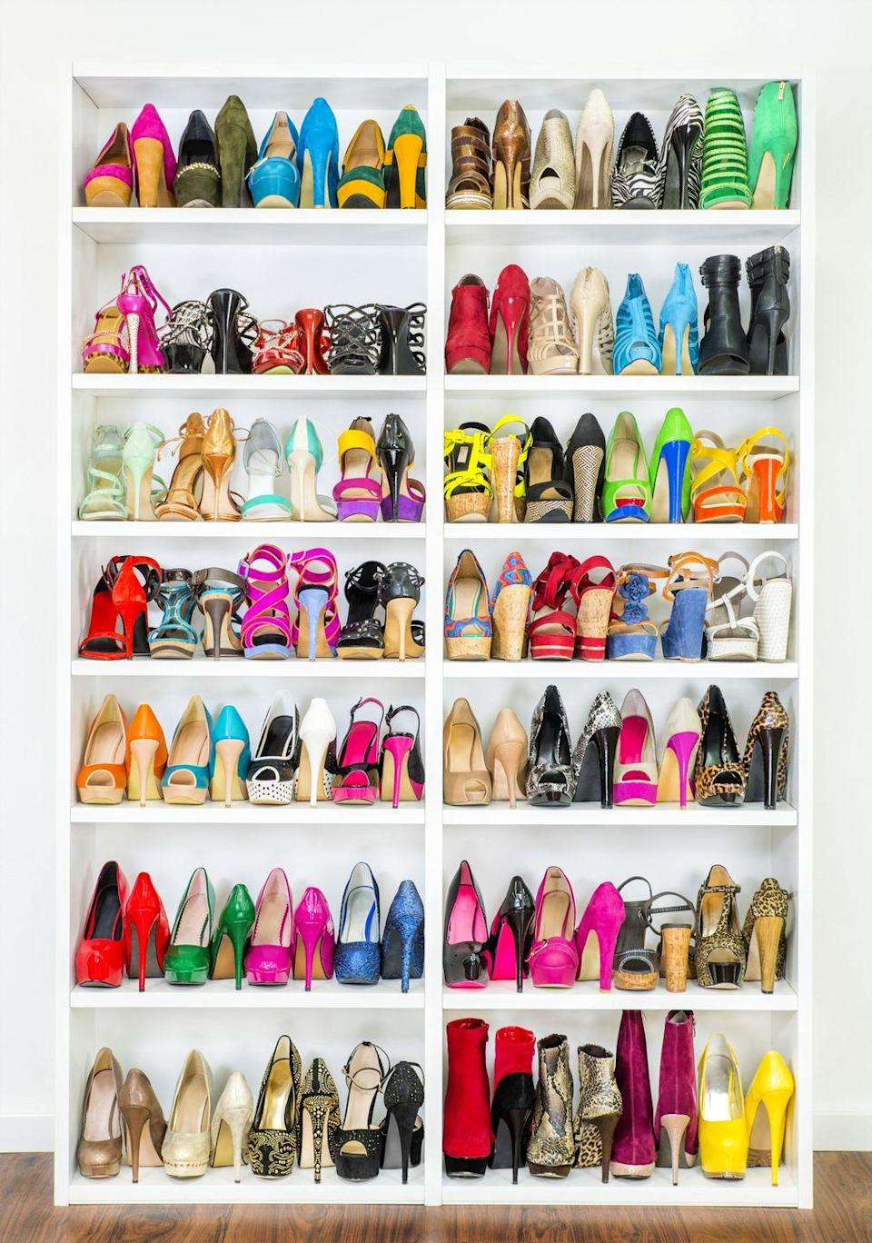 """<p>By organizing your shoes from heel to toe, you can maximize space (a.k.a. room for more shoes!), giving you a quick survey of color, toe style, and heel height to help speed up getting dressed.</p><p><strong>RELATED:</strong> <a href=""""https://www.goodhousekeeping.com/home/cleaning/tips/g1343/shoe-organizing-ideas/"""" rel=""""nofollow noopener"""" target=""""_blank"""" data-ylk=""""slk:Smart Ways to Keep Shoes Tidy"""" class=""""link rapid-noclick-resp"""">Smart Ways to Keep Shoes Tidy </a></p>"""