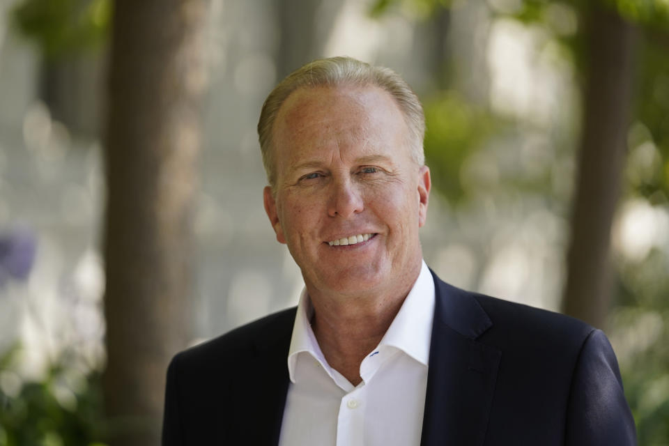 California gubernatorial candidate and former San Diego mayor Kevin Faulconer poses outside the headquarters of the California Supreme Court in San Francisco, Wednesday, Sept. 8, 2021. (AP Photo/Eric Risberg)