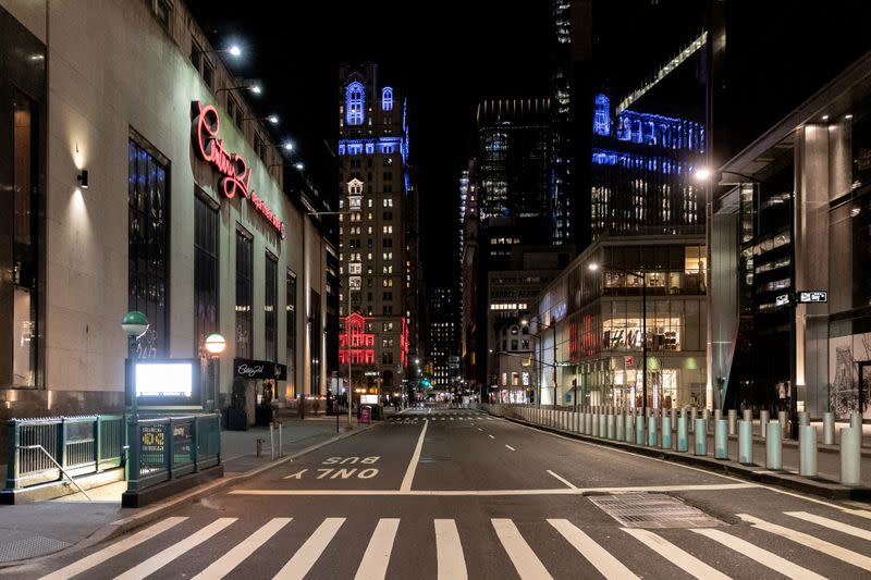 An empty street is seen near Wall street during the outbreak of the coronavirus disease (COVID-19) in Manhattan