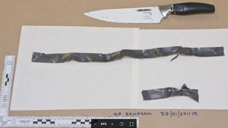 One of the two knives found on Khan after the incident. (Met Police)