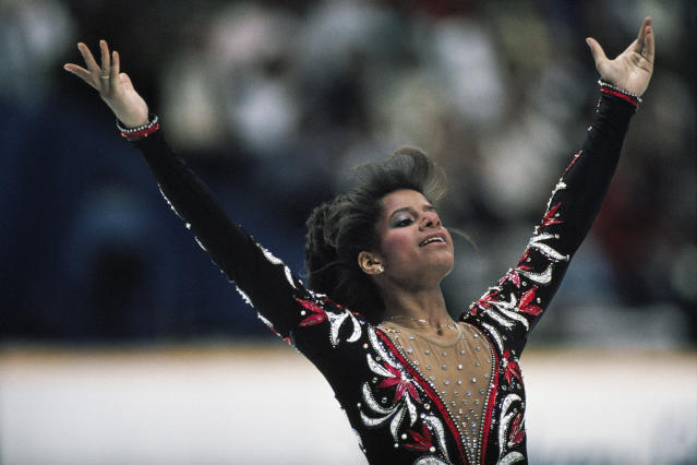 Debi Thomas from USA at the end of her performance in the women's long program of the 1988 Winter Olympics. (Gilbert Iundt; Jean-Yves Ruszniewski/TempSport/Corbis/VCG via Getty Images)