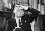 """<p>JFK, intending to lead guests in the Blue Room, led them into the pantry. He laughed at his mistake, <a href=""""https://www.amazon.com/Upstairs-White-House-First-Ladies/dp/1504038673?tag=syn-yahoo-20&ascsubtag=%5Bartid%7C10063.g.34658622%5Bsrc%7Cyahoo-us"""" rel=""""nofollow noopener"""" target=""""_blank"""" data-ylk=""""slk:saying"""" class=""""link rapid-noclick-resp"""">saying</a>, """"Oh, this is another room I wanted to show you."""" </p>"""