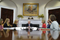 President Joe Biden speaks during a meeting with FEMA Administrator Deanne Criswell, third from left, and Homeland Security Adviser and Deputy National Security Adviser Elizabeth Sherwood-Randall, fifth from left, in the Roosevelt Room of the White House, Tuesday, June 22, 2021, in Washington. (AP Photo/Evan Vucci)