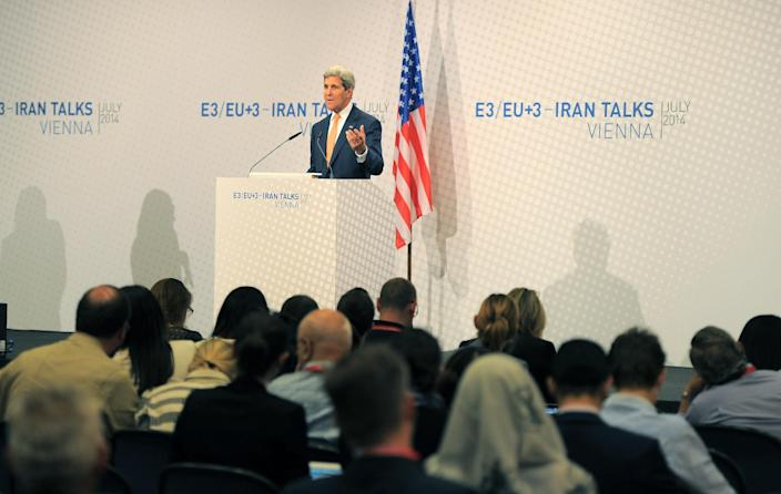 US Secretary of State John Kerry speaks during his final press conference after talks over Tehran's nuclear program in Austria Convention Centre in Vienna, on July 15, 2014 (AFP Photo/Joe Klamar)