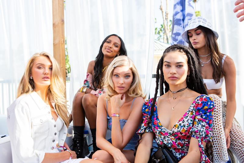 Romee Strijid, Jasmine Tookes, Elsa Hosk, and Shanina Shaik attend the Revolve Festival in La Quinta, California, during weekend one of Coachella on Saturday, April 13, 2019. Photograph by Alex Welsh for W magazine.