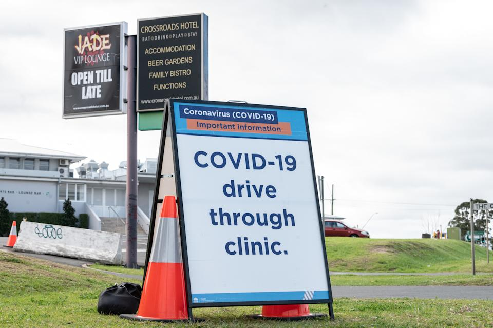 Signage at the entrance to a COVID-19 testing centre at the Crossroads Hotel testing centre in Sydney.