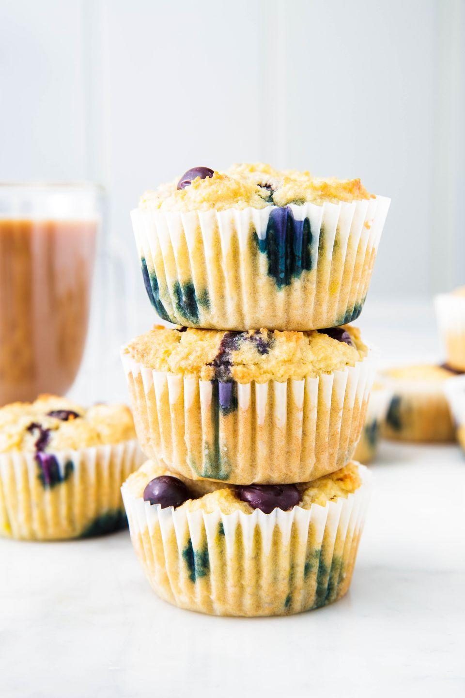 "<p>They've got protein, fruit, AND they're sugar free.</p><p>Get the recipe from <a href=""https://www.delish.com/cooking/recipe-ideas/a25349181/keto-blueberry-muffins-recipe/"" rel=""nofollow noopener"" target=""_blank"" data-ylk=""slk:Delish"" class=""link rapid-noclick-resp"">Delish</a>. </p>"